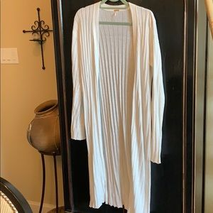 FREE PEOPLE cotton maxi sweater in white, long sl